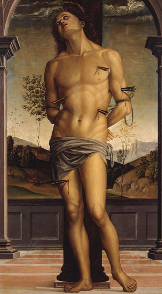 2-R43-S1-1495-30 Perugino, Hl.Sebastian Perugino, Pietro, eigentl. Pietro Va- nucci, um 1445/48 - 1523. 'Der Heilige Sebastian'. Oel auf Holz. Rom, Galleria Borghese. E: Perugino / St. Sebastian Perugino, Pietro, real name Pietro Vanucci c.1445/48 - 1523. 'Saint Sebastian'. Oil on wood. Rome, Galleria Borghese. F: Le Perugin / Saint Sebastien. Perugin, Pietro Vanucci, dit Le , v. 1445/48 - 1523. - 'Saint Sebastien'. Huile sur bois. Rome, Galleria Borghese.