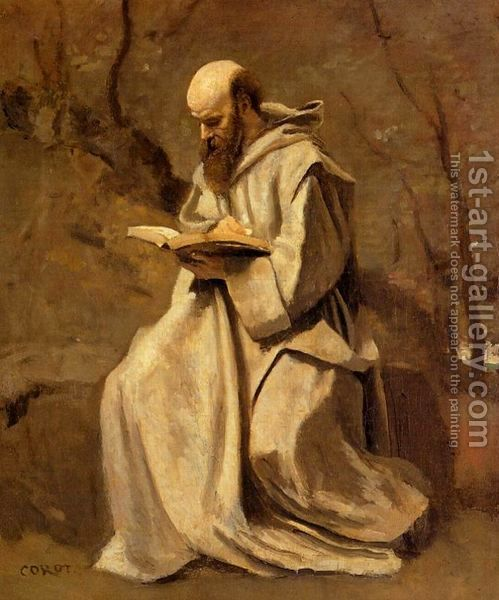 Monk-In-White,-Seated,-Reading