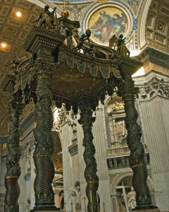 The Baldachin Altar - Bronze & Gold Altar in St. Peter's Cathedral located directly above the tomb of St. Peter - it was built between 1624 & 1633