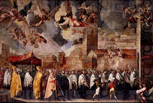 Procession to transfer the relics of the Holy Bishops to the Old Cathedral of St Peter, 1656, by Francesco Maffei (1605-1660), painting, Old Cathedral...
